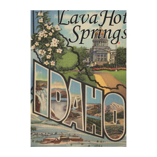 Lava Hot Springs, Idaho - Large Letter Scenes Canvas Print