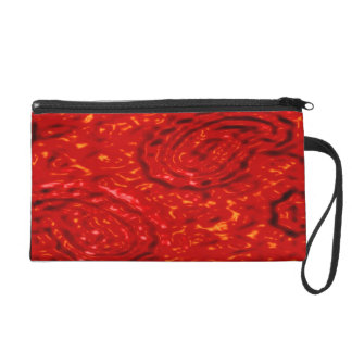 Lava Party abstract red pattern by Valxart.com Wristlet Purse