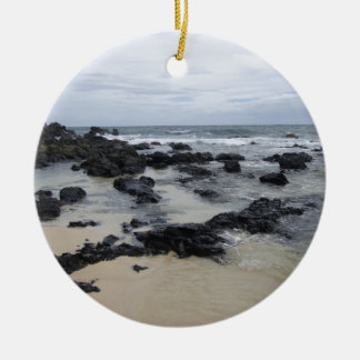 Lava Rock Beach Double-Sided Ceramic Round Christmas Ornament