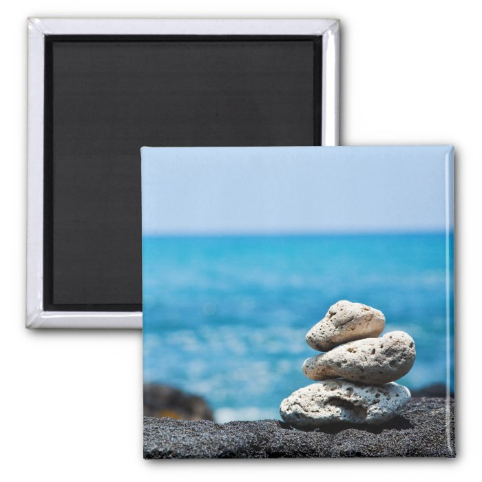 Lava Rock Coral Hawaii Ocean Tropical Beach 2 Inch Square Magnet