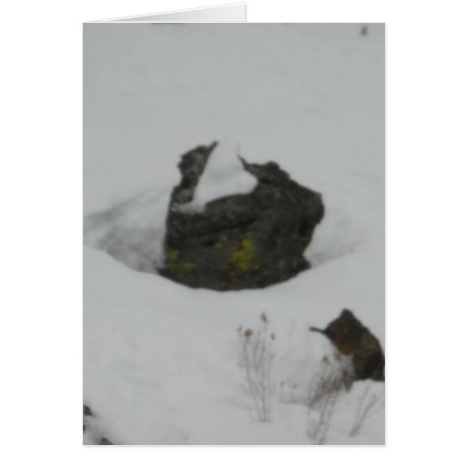 Lava rock in snow greeting cards