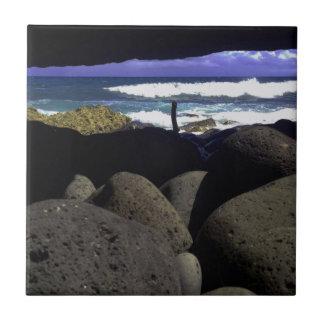 Lava Rocks And Hawaiian Ocean Small Square Tile