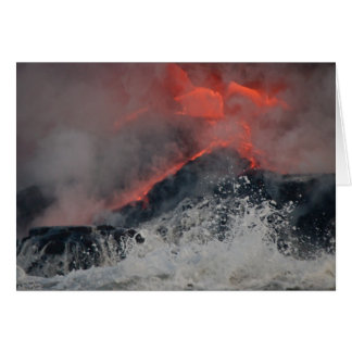 Lava spills into the sea greeting card