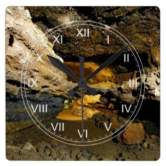 Lava tube cave square wall clock