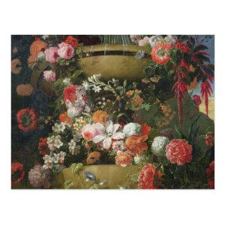 Lavabo y flores postal