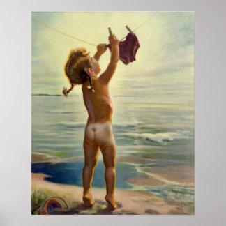 Lavadero colgante del niño lindo del vintage en la póster