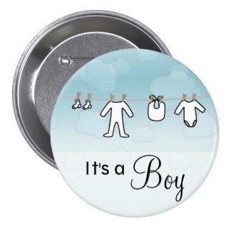 Lavadero del bebé - muchacho pin redondo de 3 pulgadas