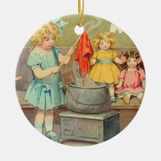 Lavadero del carro adorno navideño redondo de cerámica