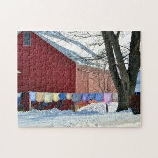 Lavadero del invierno de Amish Rompecabezas Con Fotos