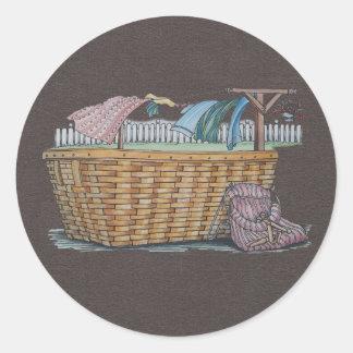 Lavadero en cuerda para tender la ropa pegatinas redondas