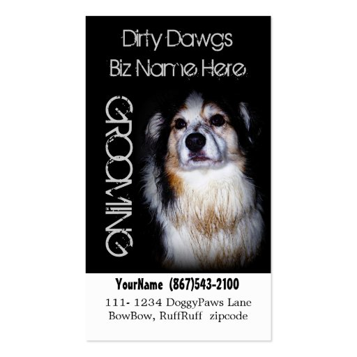 Lavado australiano fangoso del perro de la prepara tarjetas de visita