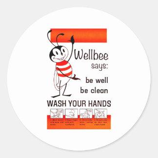 LAVADO de la CDC de Wellbee SU poster del anuncio Pegatina Redonda
