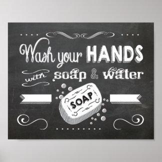 Lavado de la pizarra su poster de las manos