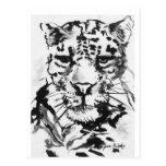 Lavado de la tinta del leopardo tarjetas postales