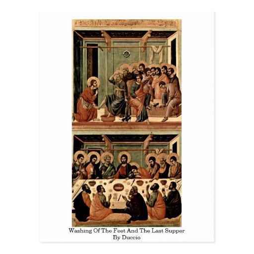 Lavado de los pies y la última cena por Duccio Tarjetas Postales
