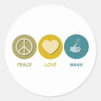 Lavado del amor de la paz pegatina redonda