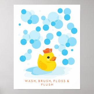 Lavado del |, cepillo, seda y impresión Ducky de Póster