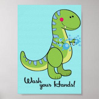 lavado del dinosaurio 5x7 su arte de la pared del posters