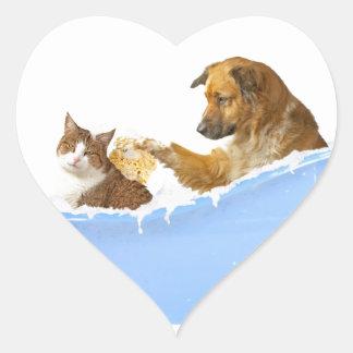 Lavado del gato pegatina en forma de corazón
