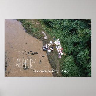 Lavado interminable de la cita del lavadero en la póster