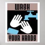 Lavado retro fresco su poster de las manos