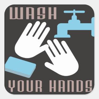 Lavado retro su pegatina de las manos