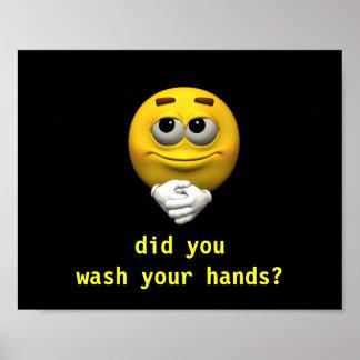 Lavado sonriente sus manos póster