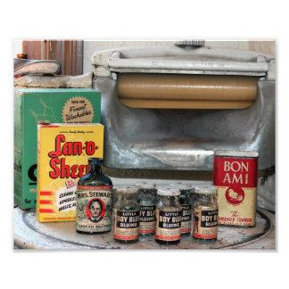 Lavadora del vintage y foto de las mercancías que