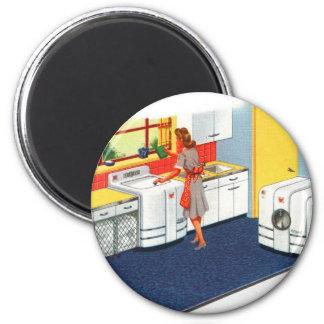 Lavadora y secador retros de los suburbios 50s del imán para frigorifico
