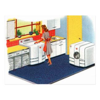 Lavadora y secador retros de los suburbios 50s del tarjeta postal