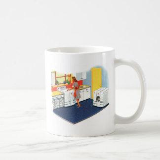 Lavadora y secador retros de los suburbios 50s del taza