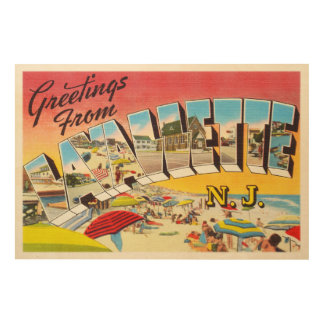 Lavallette New Jersey NJ Vintage Travel Postcard- Wood Print