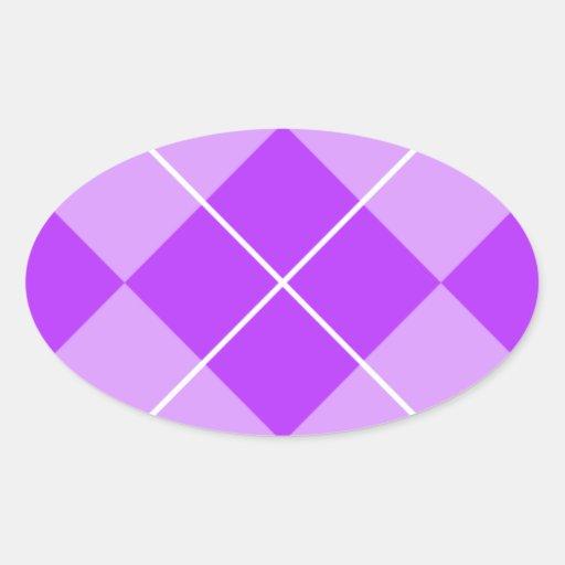 Lavanda Argyle de la lila Pegatina Ovalada
