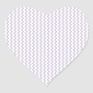 Lavanda blanca y lánguida del zigzag - pegatina en forma de corazón