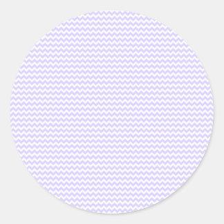 Lavanda blanca y pálida del zigzag - pegatina redonda