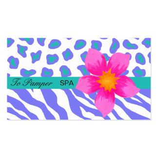 Lavanda, blanco, cebra del trullo y piel florales tarjetas de visita