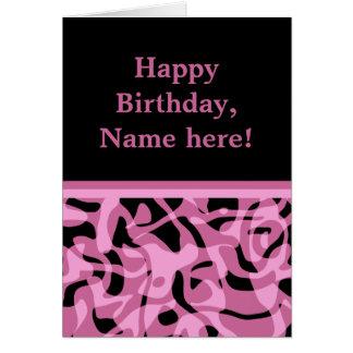 Lavanda bonita y cumpleaños negro tarjeta de felicitación