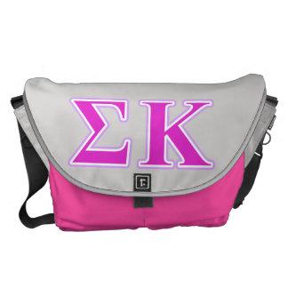 Lavanda de Kappa de la sigma y letras rosadas Bolsas De Mensajería