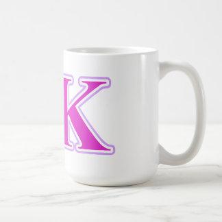 Lavanda de Kappa de la sigma y letras rosadas Tazas De Café