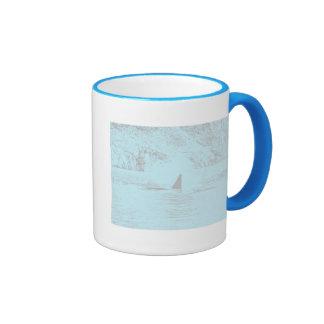 Lavanda de la turquesa del dibujo de la natación d tazas de café