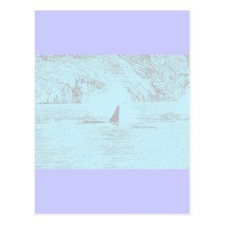 Lavanda de la turquesa del dibujo de la natación postal