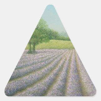 Lavanda de Mayfield en la floración, pegatinas de Pegatina Triangular