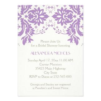 Lavanda del damasco, gris, ducha nupcial del boda  invitaciones personales