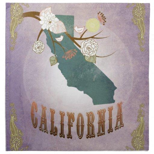 Lavanda del dulce del mapa del estado de Californi Servilletas Imprimidas