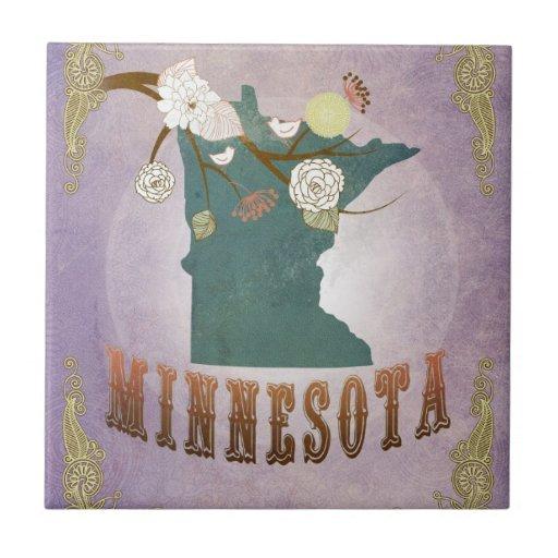 Lavanda del dulce del mapa del estado de Minnesota Azulejos Ceramicos