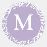 Lavanda del monograma M y sellos blancos del boda Etiquetas