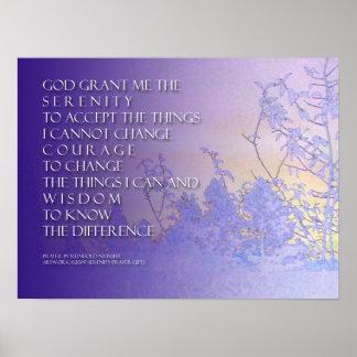 Lavanda del rezo de la serenidad y impresión azul  posters