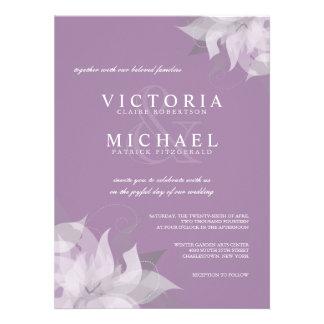 Lavanda e invitaciones florales blancas del boda invitación personalizada
