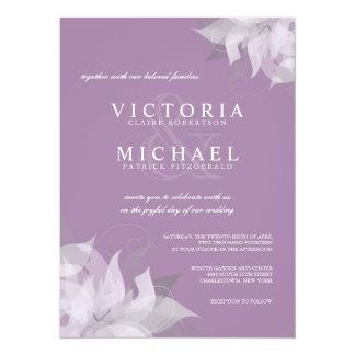 Lavanda e invitaciones florales blancas del boda invitación 13,9 x 19,0 cm
