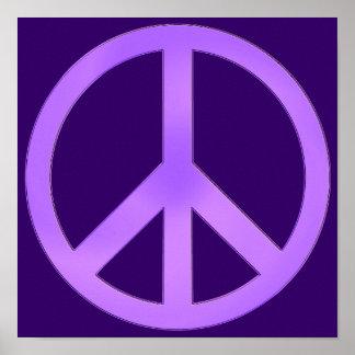 Lavanda en signo de la paz púrpura oscuro poster